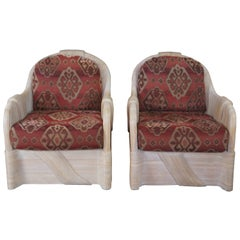 2 Sculptural Split Reed Rattan Southwestern Club Arm Lounge Chairs Boho Chic