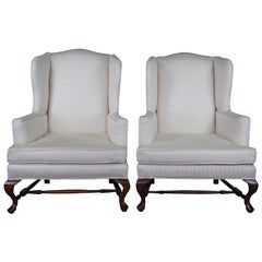 2 Hickory Chair Queen Anne Mahogany Wingback Club Library Arm Chairs Pair