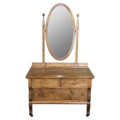 Antique Victorian Crescent Furniture Co Mirrored Oak Lowboy Vanity Dresser Chest