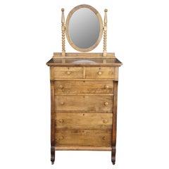 Antique Crescent Furniture Mirrored Oak Tallboy Vanity Dresser Chest of Drawers