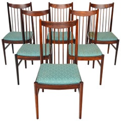 Set of Six Arne Vodder Highback Dining Chairs in Rosewood