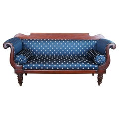 Antique American Empire Federal Mahogany Scalamandre Parlor Settee Sofa Couch