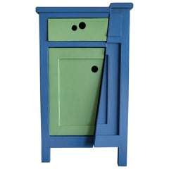 21st Century Cabinet-Sculpture Contemporary Blue-Green Colors in Wood and Resin