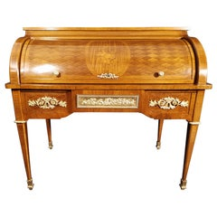 19th Century French Cylinder Desk in Louis XVI Style Marquetry