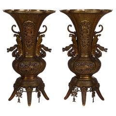 Magnificent Pair of 19th Century Japanese Bronze Vases