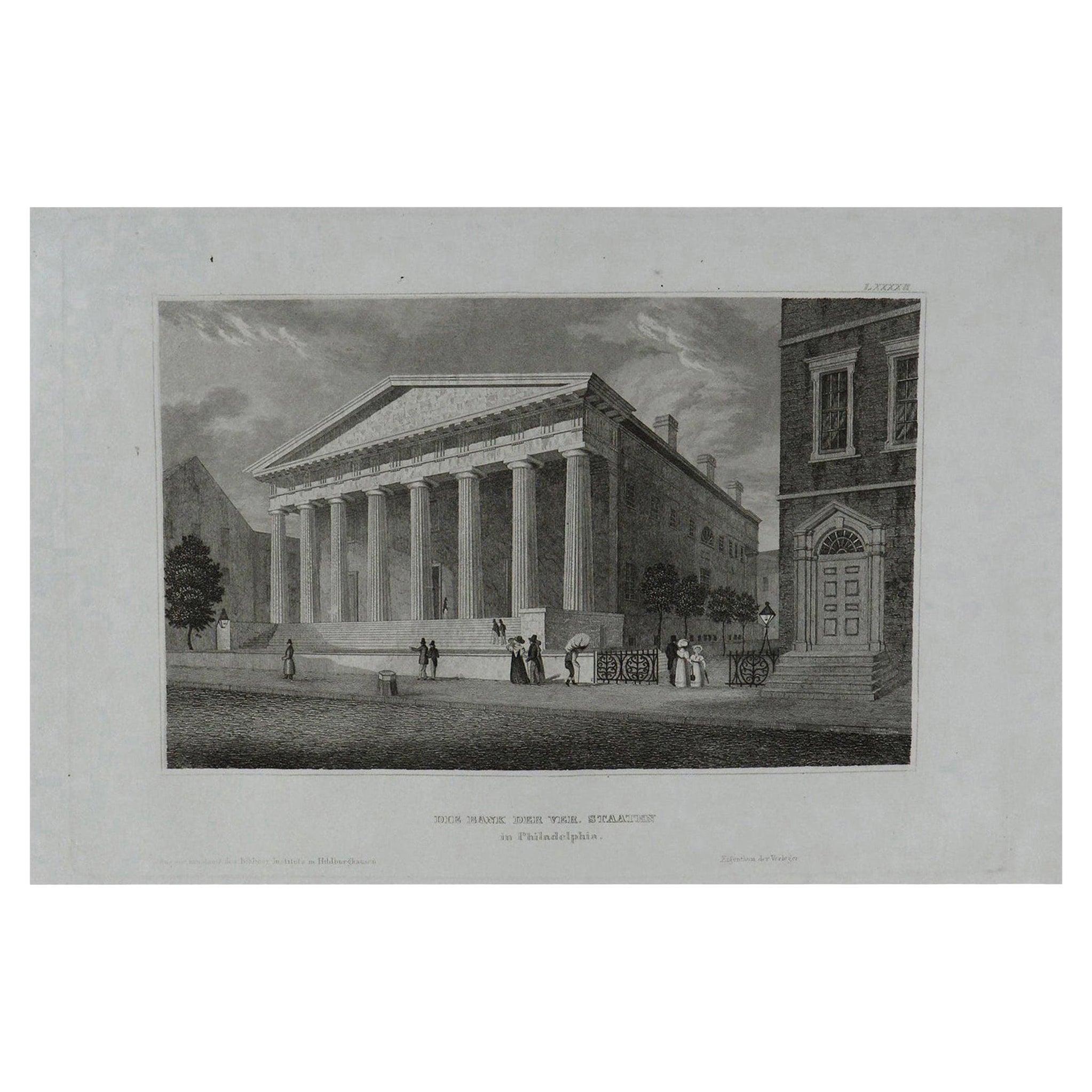Original Antique Print of Philadelphia, Pennsylvania, circa 1840