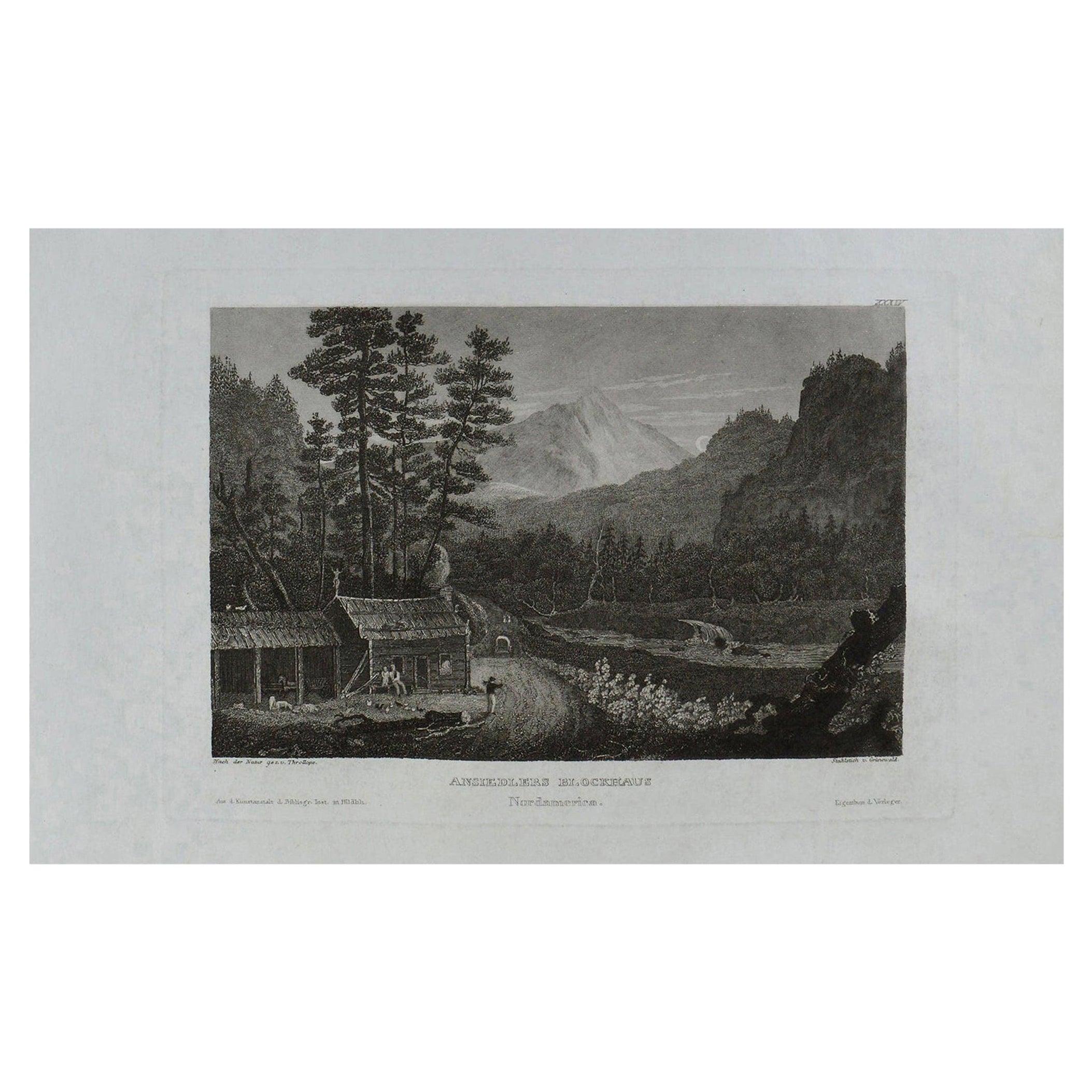 Original Antique Print of Ansiedlers Blockhouse, Pennsylvania, circa 1840