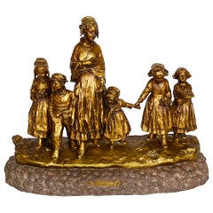 19th Century Bronze, Mother and Children, by J. D'Aste