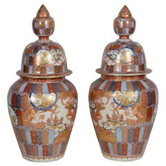 Pair Japanese Imari Lidded Vases, circa 1890