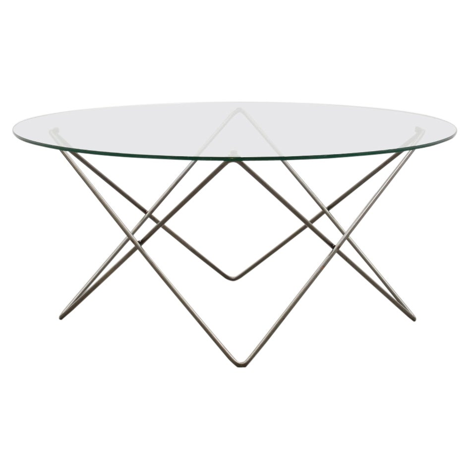 Wire and Glass Round Coffee Table 80s