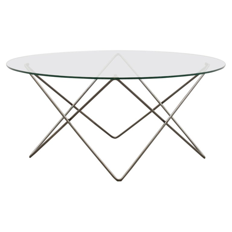 Wire and Glass Round Coffee Table 80s For Sale