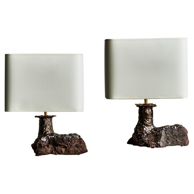 Pair of Lava Stone and Ceramic Table Lamps by Leo Nataf For Sale