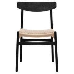 CH23 Dining Chair in Oak Painted Black & Natural Papercord by Hans J. Wegner