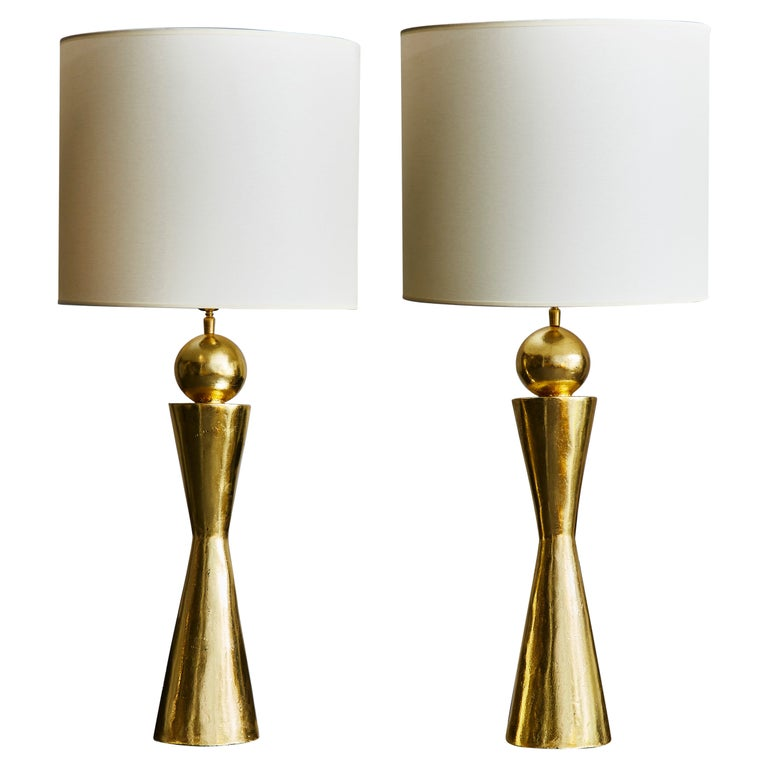 Pair of Gold Leaf Covered Plaster Table Lamps For Sale