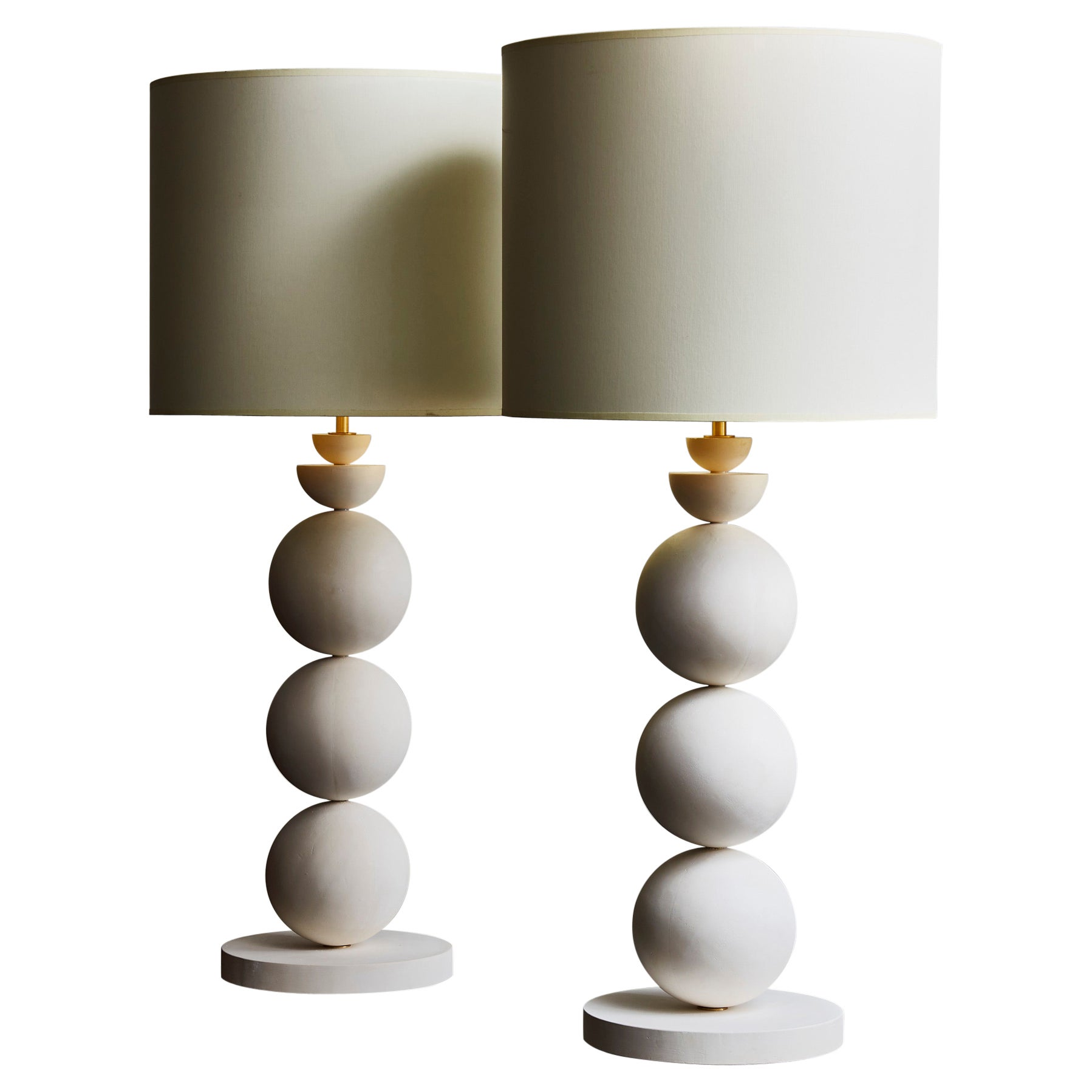 Pair of Geometrical Plaster Table Lamps