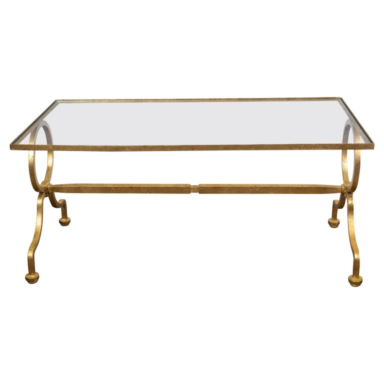 Italian Midcentury Gilt Iron Coffee Table with Glass Top and Large Rings For Sale