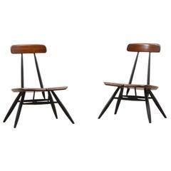 Rare Set of 2 Pirkka Lounge Chairs by Ilmari Tapiovaara for Laukaan Puu 50s