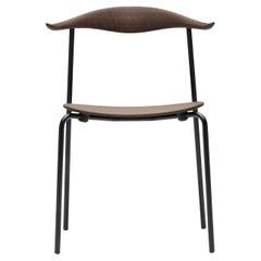 CH88T Dining Chair in Oak Smoked Stain & Black Steel Base by Hans J. Wegner