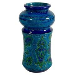 Rimini Blue Glazed Ceramic Vase by Bitossi, Italy 1960s