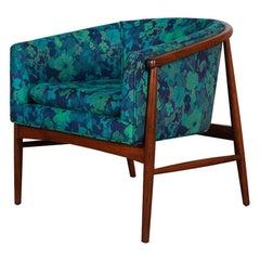 Milo Baughman Barrel Back Walnut Lounge Chair Mid-Century Modern