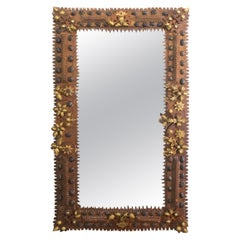 French 1900s Tramp Art Mirror with Carved Gilt Pinecones and Dark Walnuts