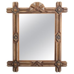 French 1900s Carved Tramp Art Mirror with Geometric Motifs and Painted Accents