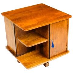 Antique Swedish Art Deco Birch Wood Revolving Bookcase 1920s