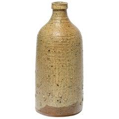 Decorative 20th Midcentury Brown Ceramic Table Bottle or Vase by La Borne Potter