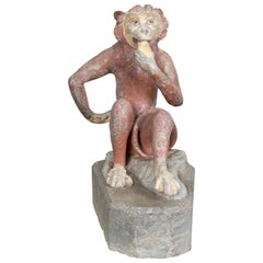 French Midcentury Lead Sculpture of a Monkey Eating a Banana with Aged Patina