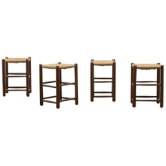 Set of 4 French Rush Stools in the Style of Charlotte Perriand 50s