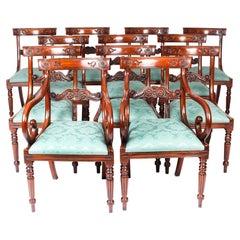 Vintage Set 14 Mahogany Regency Revival Bar Back Dining Chairs 20th C