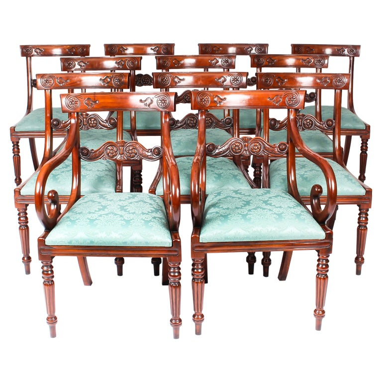 Vintage Set 14 Mahogany Regency Revival Bar Back Dining Chairs 20th C For Sale
