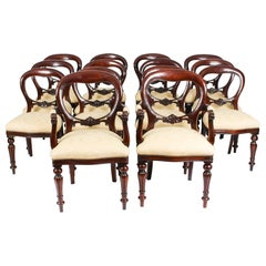 Vintage Set 14 Victorian Revival Balloon Back Dining Chairs 20th C