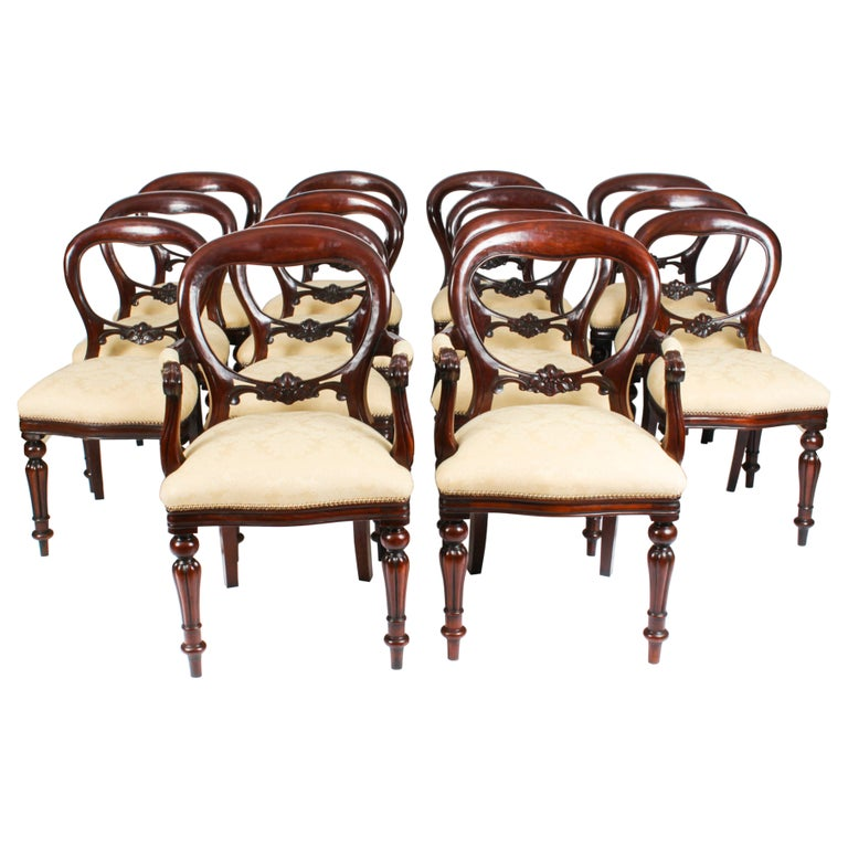 Vintage Set 14 Victorian Revival Balloon Back Dining Chairs 20th C For Sale