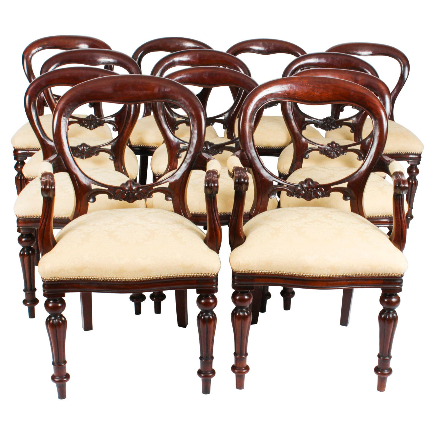 Vintage Set 12 Victorian Revival Balloon back Dining Chairs 20th C