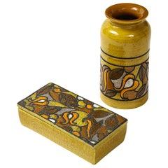 Aldo Londi Bitossi Ochre Glazed Box, Vase Set