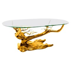 Massive Brass Coffee Table in the Style of Willy Daro, Belgium, 1970s