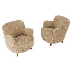 Scandinavian Mid Century Lounge Chairs in Sheepskin