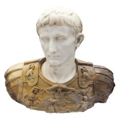 Italian Early 19th Century Carrara Marble and Siena Marble Bust of Augustus