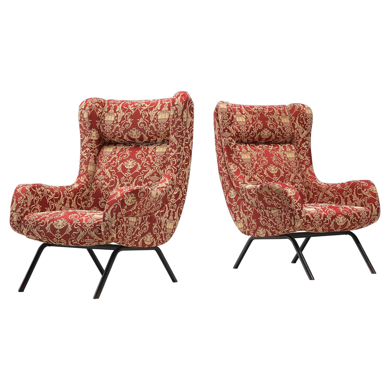Pair of Italian Armchairs in Metal and Patterned Upholstery
