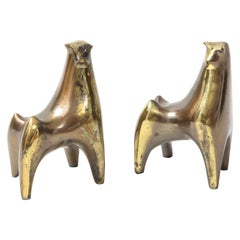 Aged Bronze Bull Bookends, B. Seibel
