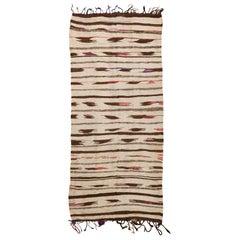 "Flat-Woven Vintage Moroccan Kilim Rug. Size: 4' 1"" x 8' 8"" (1.24 m x 2.64 m)"