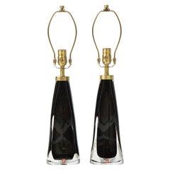 Orrefors Black Crystal Encased Lamps