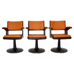 Space Age Vintage Brown Plastic Orange Faux Leather Swivel Armchairs 1970s
