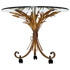 Golden Metal Vintage Hollywood Regency Style Coco Chanel Style Coffee Table 1970