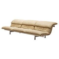 Giovanni Offredi for Saporit 'Wave' Sofa in Beige Leather