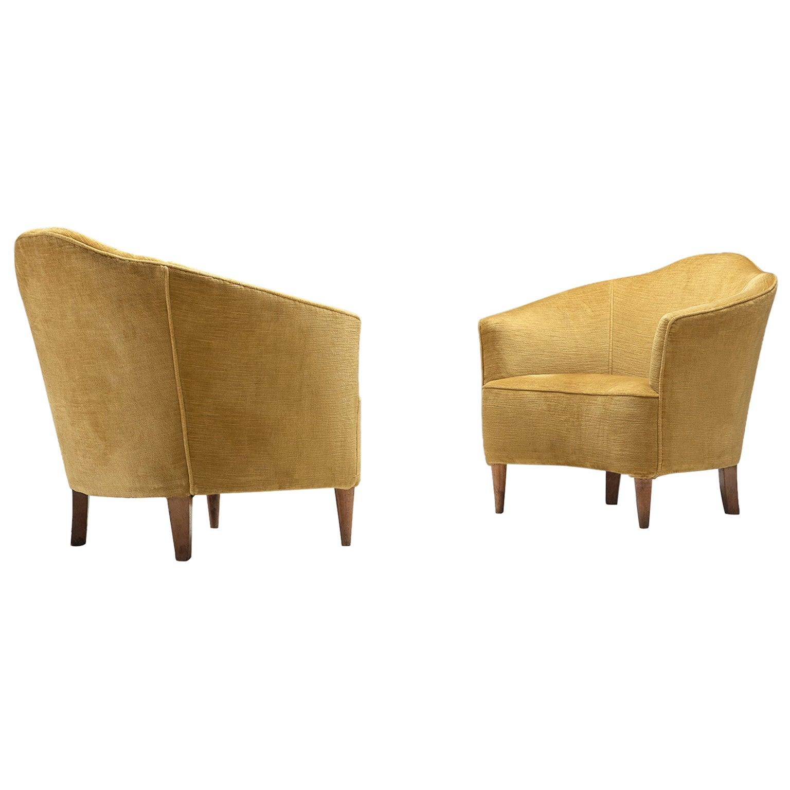 Pair of Italian Easy Chairs in Yellow Velvet