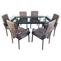 Mid-Century Modern Glass and Chrome Dining Set