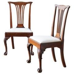 Four George III Walnut Side Chairs