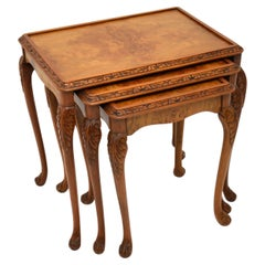 Antique Queen Anne Style Burr Walnut Nest of Tables